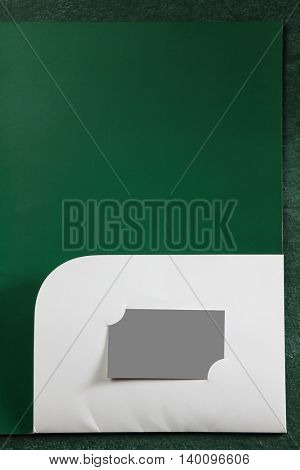 business tool, document holder with die cut for name card