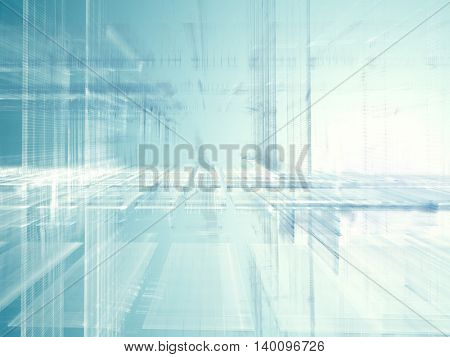 Abstract background element. Fractal graphics series. Three-dimensional composition of glowing artifacts. Information processing concept. Blue and white colors.