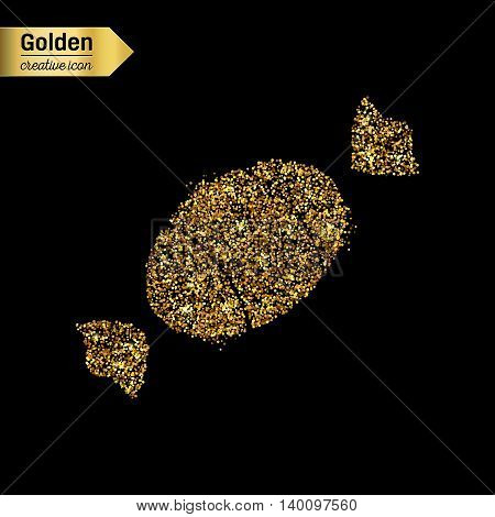 Gold glitter vector icon of sweet isolated on background. Art creative concept illustration for web, glow light confetti, bright sequins, sparkle tinsel, abstract bling, shimmer dust, foil.