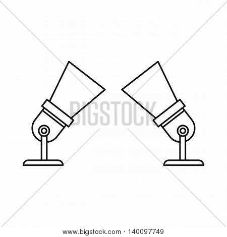 Two spotlights icon in outline style on a white background