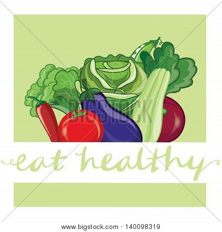 Vector Eat healthy. Banner with Vagetables hand-lettering