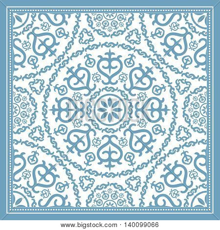 Light blue scarf design with mandala ornament. Vector illustration