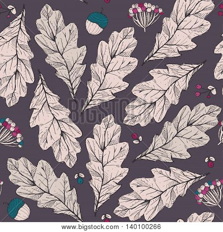 Vector seamless texture with leaves and flowers on dark background. Hand drawn graphic illustration with berries acorns with blue and pink accents. Pattern good for fabric print autumn design.