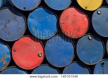 Metal Barrels At Scrapyard