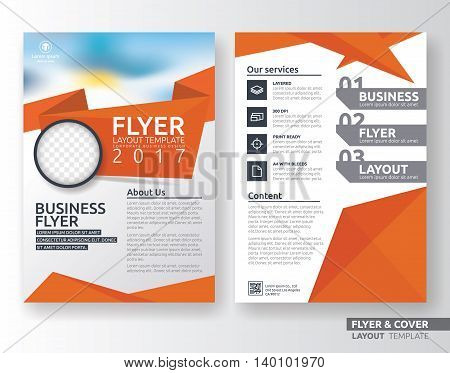 Multipurpose corporate business flyer layout design. Suitable for flyer brochure book cover and annual report. Orange and white color in A4 size template background with bleeds. Vector illustration