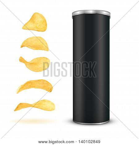 Potato chips snack isolated on white background