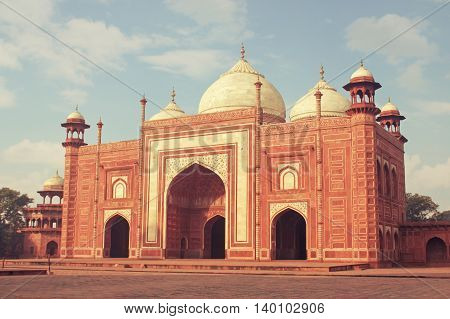 India, Mosque. Indian Mosque near with Tajmahal. The image of the TajMahal with a beautiful sky and clouds. Taj Mahal panorama with high resolution. Mosque for all lovers. Taj Mahal