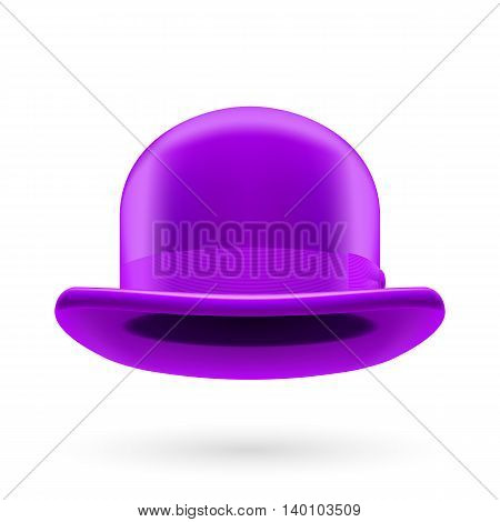 Violet round traditional hat with hatband on white background.
