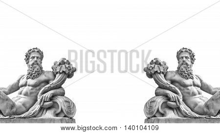 Marble statue of greek god with cornucopia in his hands isolated on white background with place for your text