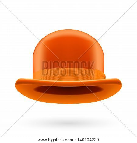 Orange round traditional hat with hatband on white background.