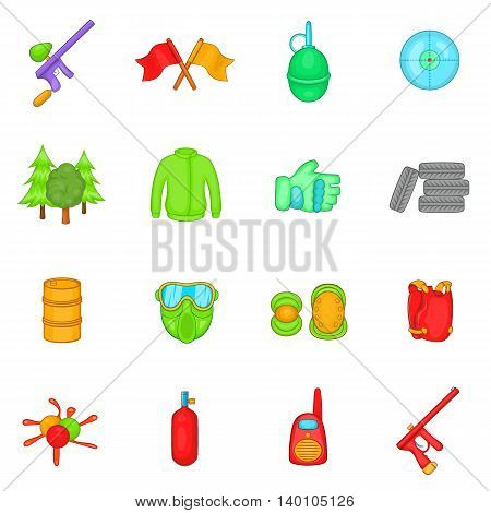 Paintball icons set in cartoon style. Gun game set isolated vector illustration