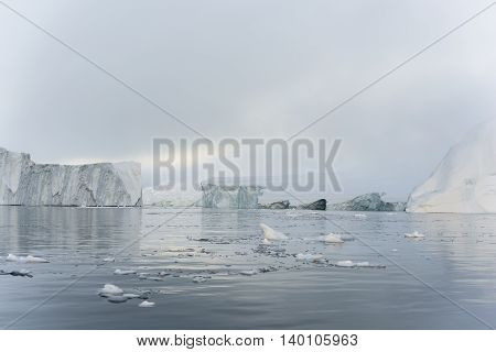 icebergs are on the arctic ocean to Ilulissat fjord, Greenland