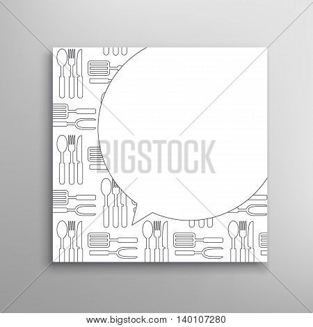 Cooking invitation template. Culinary utensils vector card
