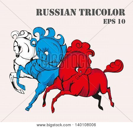 Russian tricolor horses vector illustration. White, blue and red flag colors.