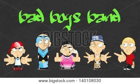 Bad boys band vector illustration. Hip hop style.