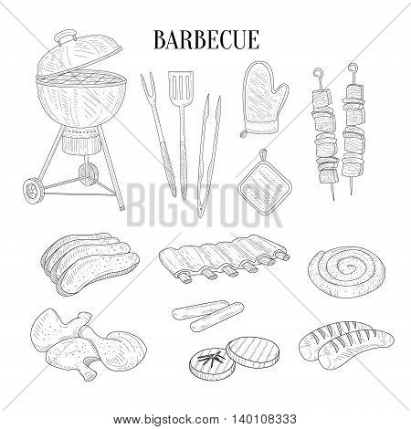 Barbecue Related Isolated Items And Food Hand Drawn Realistic Detailed Sketch In Classy Simple Pencil Style On White Background