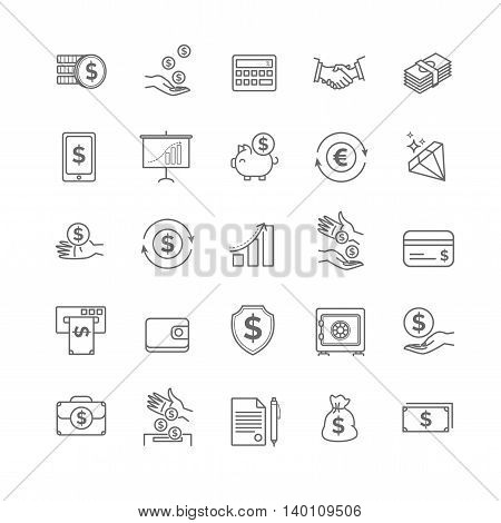 Money icons set. UI money elements for your design