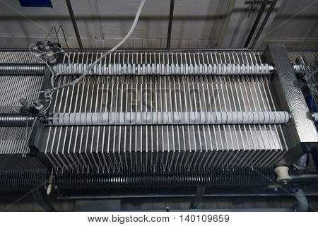 Water industrial filters in filtration module at big brewery plant