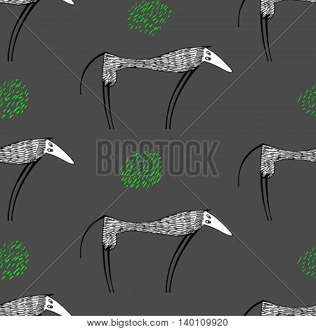 seamless vector pattern with high funny dogs.Hand drawn