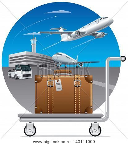 illustration of concept delivery luggage suitcase in airport poster