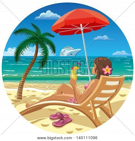 girl with cocktail in lounge chair on beach