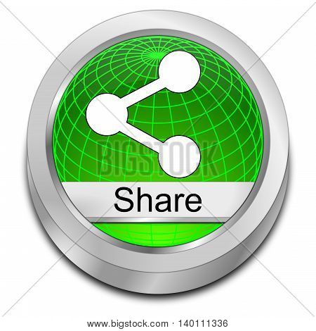 decorative green Share Button - 3D illustration