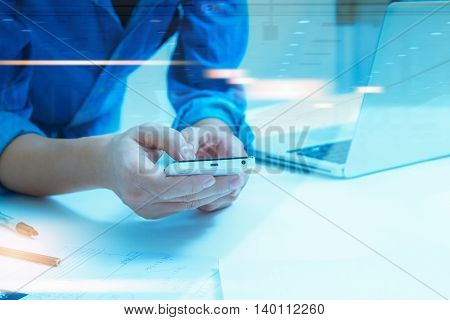 Businessman Holding Mobile Phone About Research Data On Internet For Discuss Business Planning Marke