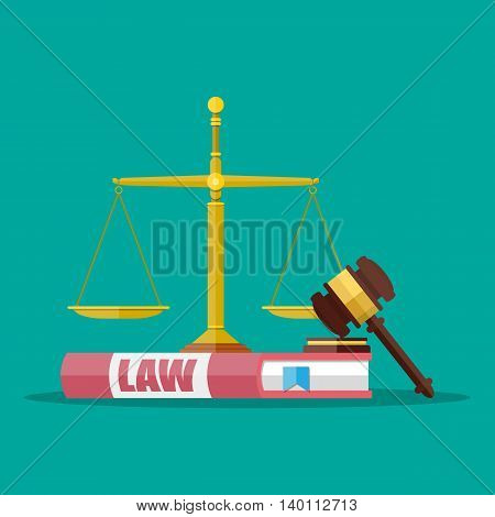 Judge wooden gavel with law book and golden scales. Justice concept. Vector illustration in flat style on green background