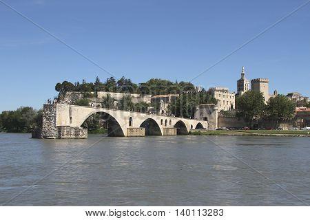 Famous bridge Saint Bénézet in the town of Avignon, France