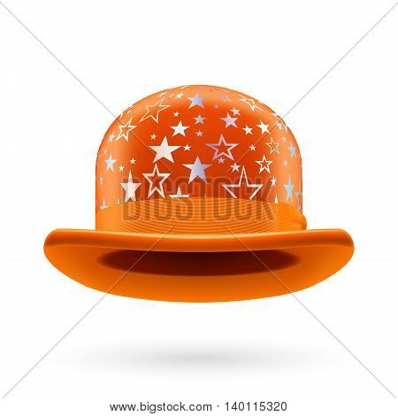 Orange round bowler hat with silver glistening stars.