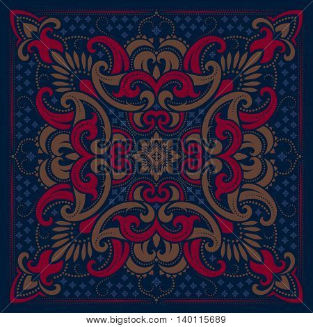 Vector ornament blue paisley Bandana Print, silk neck scarf or kerchief square pattern design style for print on fabric.