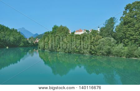 View to Village of Fuessen in Allgaeu at River Lech,Bavaria,Germany