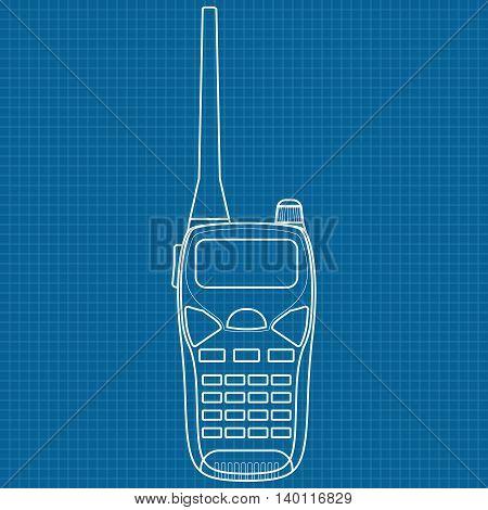 Walkie talkie. Vector illustration on blueprint background