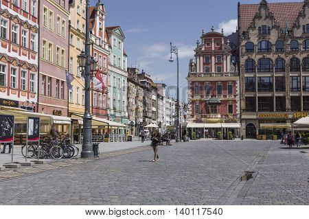 Wroclaw, Poland - July 07, 2016:architecture Of The Market Square In Wroclaw, Poland. Wroclaw Is The