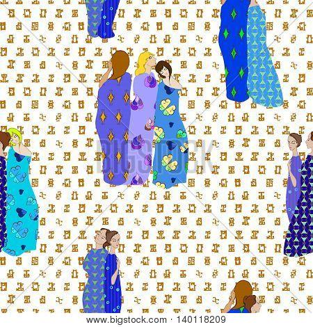 Girls Draped patterned fabrics seamless pattern on patterned background