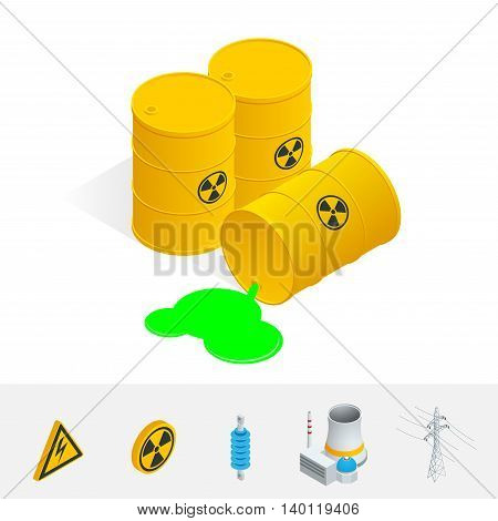 Debris Atomic Energy. Danger radiation. Flat 3d vector isometric illustration