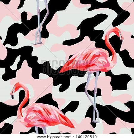 Beautiful pink flamingo print on camo background. Seamless vector pattern. Decorative trendy nature wallpaper