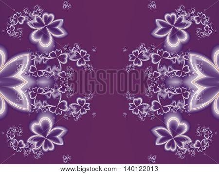 Flower pattern in fractal design. Purple palette. Artwork for creative design art and entertainment.