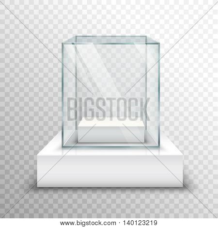 Realistic empty glass for exhibiting on transparent background isolated vector illustration