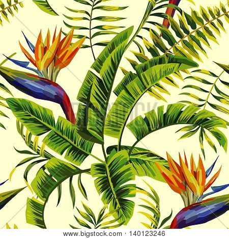 Tropic summer painting seamless vector pattern with palm banana leaf and plants. Floral jungle flower bird of paradise. Trendy vintage bunch exotic flower wallpaper on light yellow background