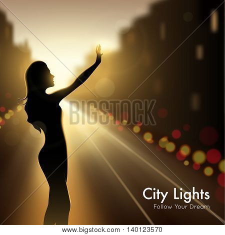 Girl silhouette in city lights design concept at night urban background and description follow your dream vector llustration