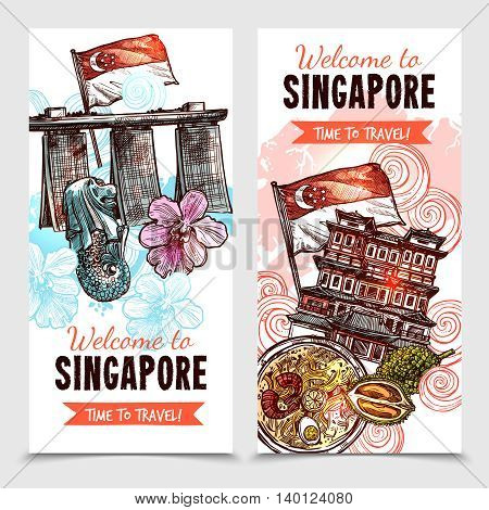Singapore vertical banners in hand drawn style with merlion and marina bay sands images and description welcome to singapore vector illustration