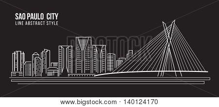 Cityscape Building Line art Vector Illustration design - Sao paulo city