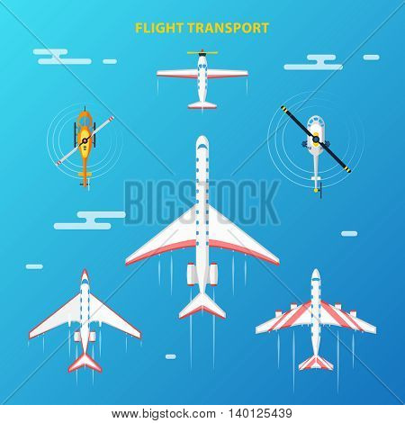 Air transport at flight collection top view with helicopters and airplanes blue sky background abstract vector illustration