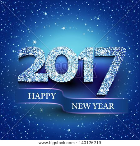 Happy new year 2017 blue background. New Year's greetings card. Vector illustration