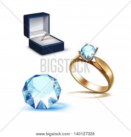 Vector Gold Engagement Ring with Light Blue Shiny Clear Diamond in Blue Jewelry box Close up Isolated on White Background