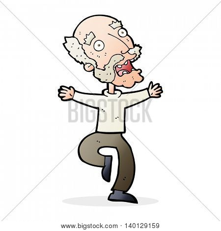 cartoon old man having a fright