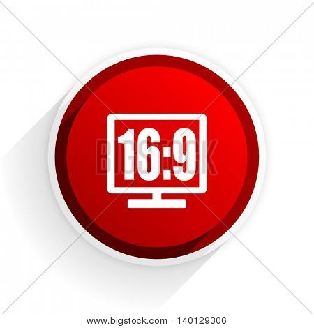 16 9 display flat icon with shadow on white background, red modern design web element