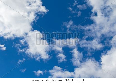 Natural bright blue sky with white clouds formation