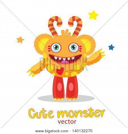 Cute Monster Illustration. Cartoon Monster Ball Mascot. Magic Wand Monster. Inflatable Funny Sun. Monsters University.